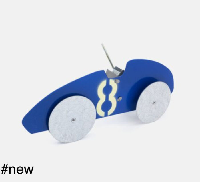 racing car metal retro handmade toy blue