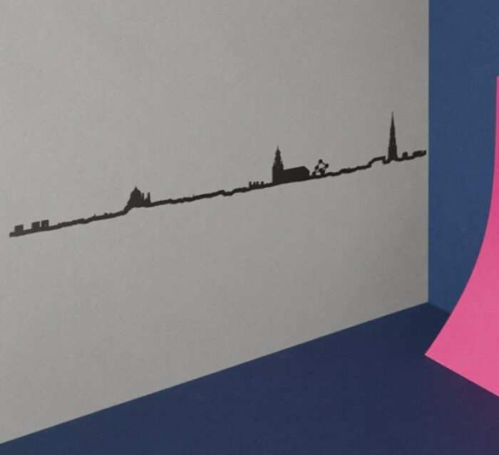THE LINE Brussels skyline outline – Wall Silhouette 125 cm