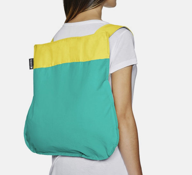 Convertible Tote bag & backpack – Mint-yellow