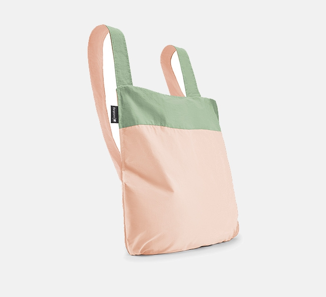 Convertible Tote bag & backpack – Nature Olive-pink