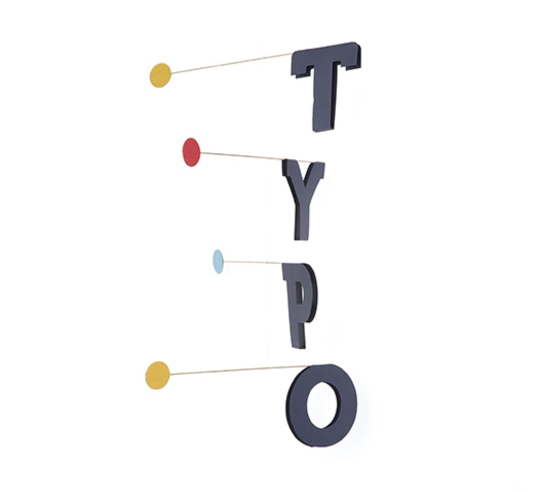 TYPO Hanging Mobile art - Paper letters