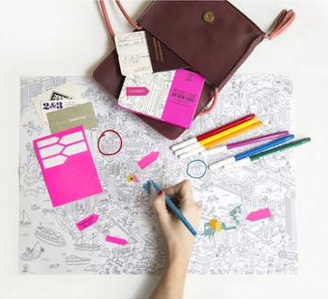 OMY New York City Coloring Poster Map - Pocket