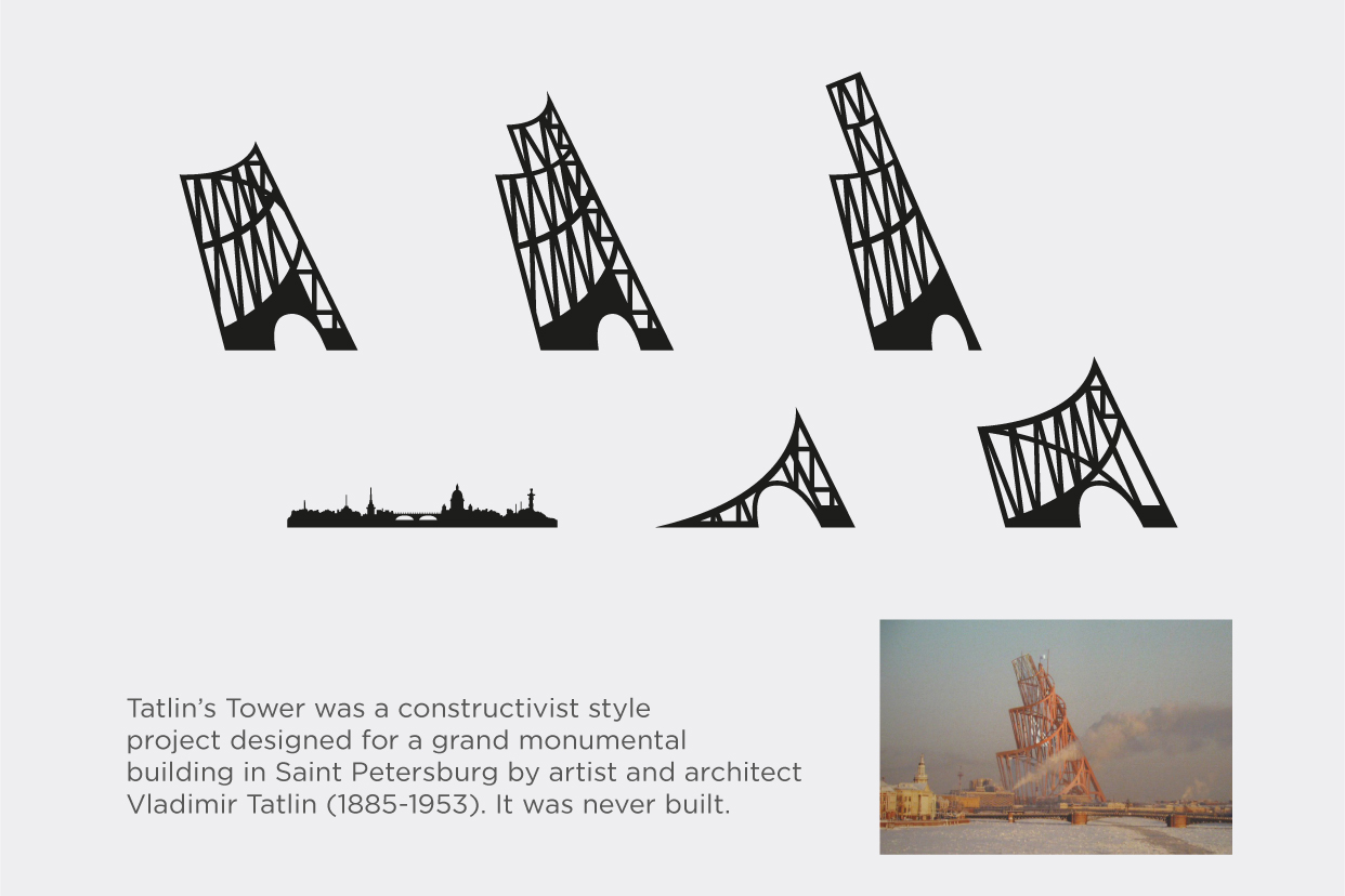 Shapes of Tatlin on St Petersburg - Movable skyline diorama