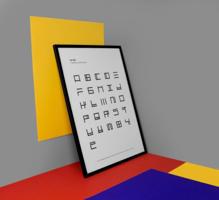A to Z De Stijl Typography Poster - by James Thompson