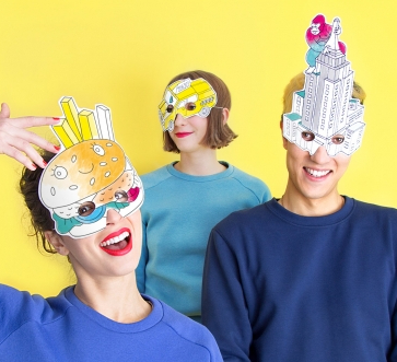 OMY New York City - 8 Coloring Paper Costume Masks