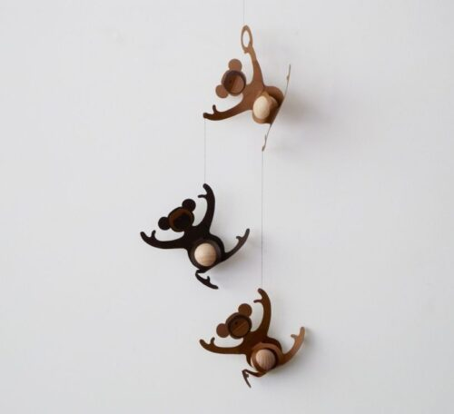 Three Monkeys Hanging Mobile - Paper mobile