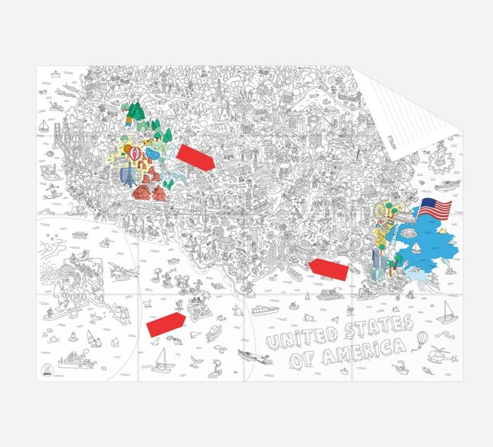 OMY USA Coloring Poster Map - Pocket