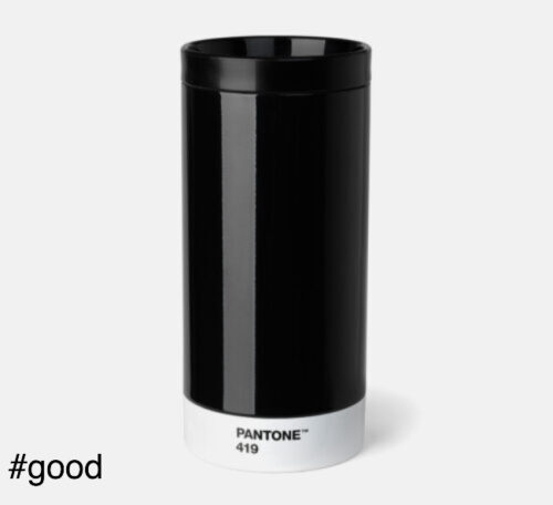 pantone to go thermo steel to go bottle black