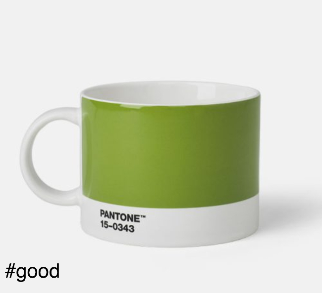 large tea cup pantone green