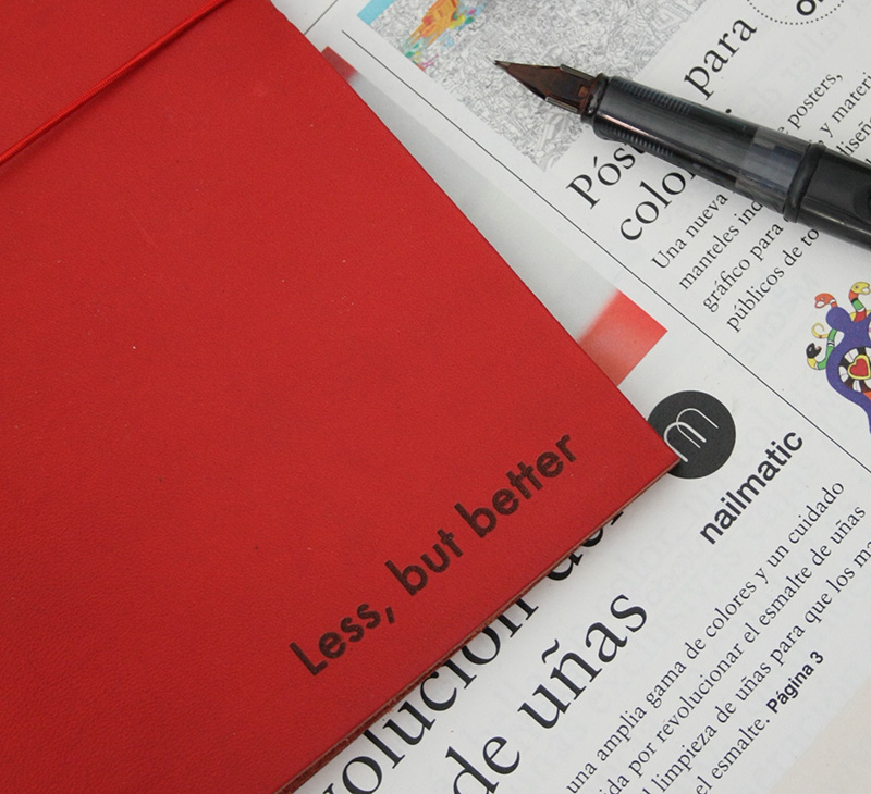 less but better red xl leather journal