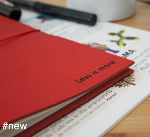 red vachetta leather journal big notebook ribbons mies