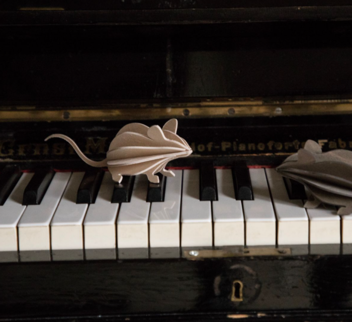 mice piano figures wood