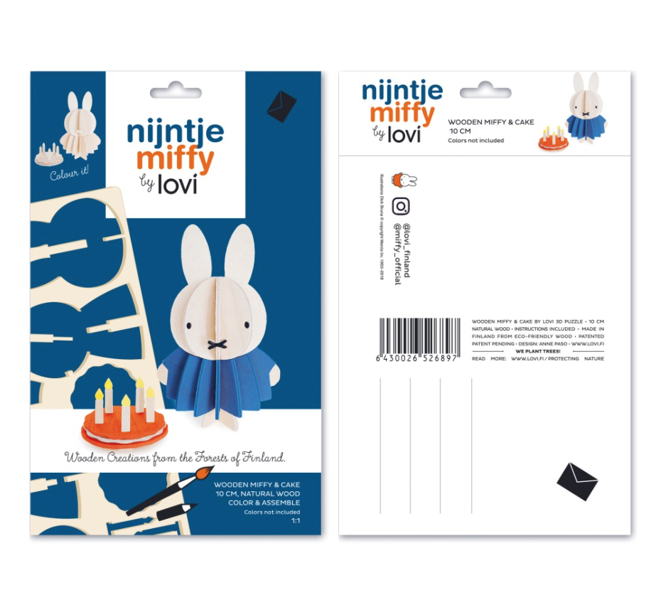 miffy rabbit and cake wooden figure
