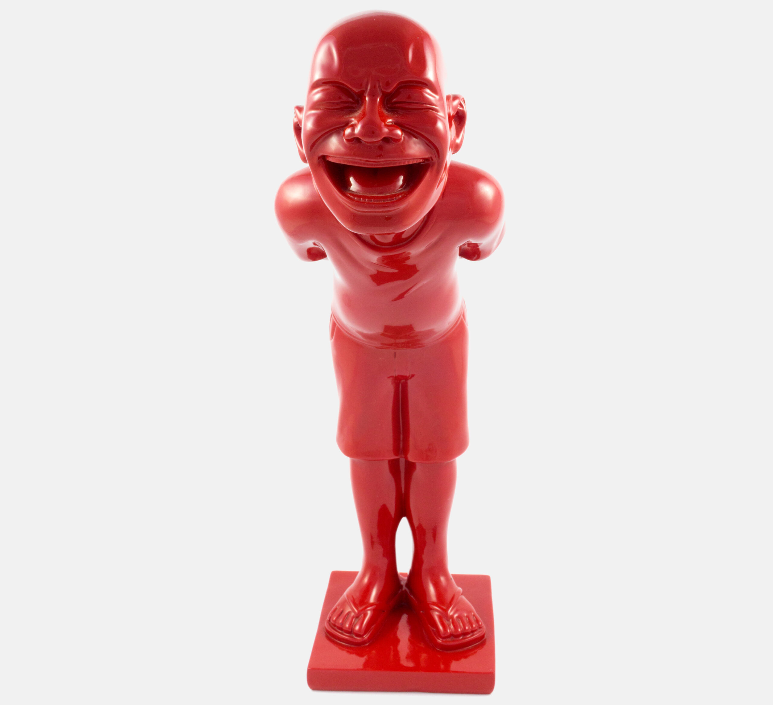 yue minjun red chinese figure laughing giggle in resin