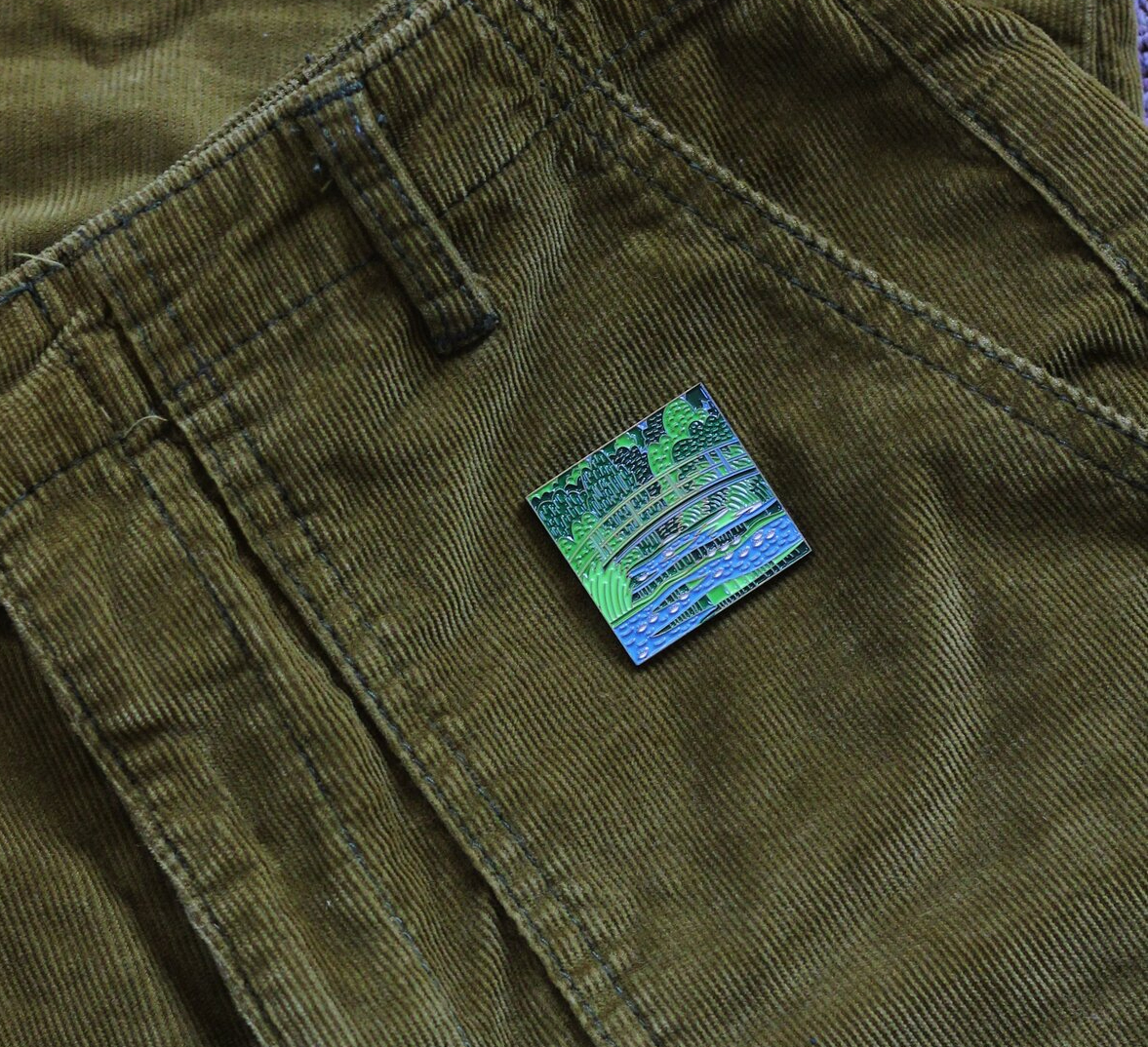 water lilies and japanese bridge enamel pin artistic brooch claude monet by pin museum