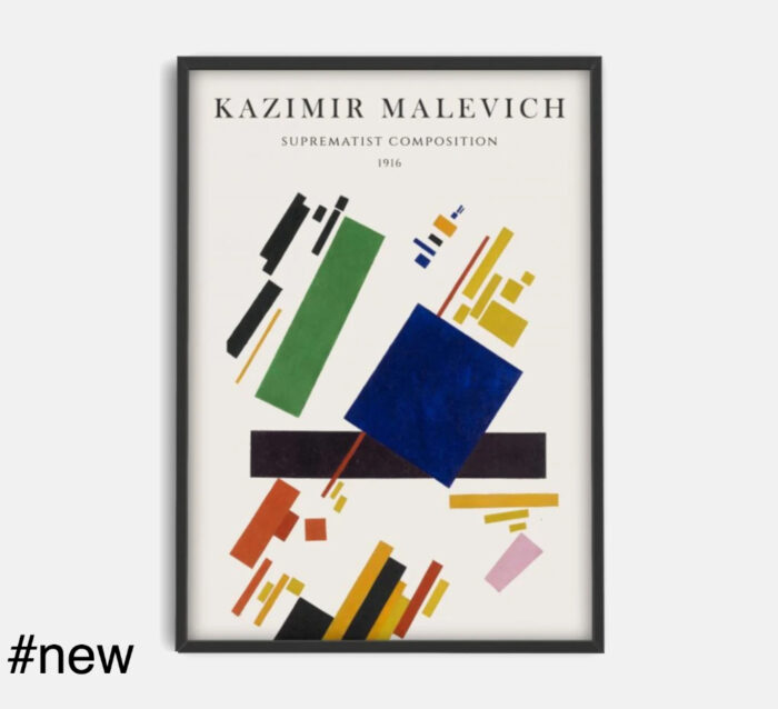 Kazimir Malevich 1916 Suprematist Composition #48 by PSTR Digitally printed on 250 gr museum quality paper with vivid colour and exceptional detail, suitable for home, office, museum, or gallery display Own a beautiful Suprematist poster representing an avantgarde 1915 painting by the main Russian artist of the artistic movement. Architect Outlet has an extensive collection of Malevich products. Check them all here. SPECIFICATIONS Dimensions: Height: 50 cm // 19.7 in Width: 70 cm // 27.6 in Artist: Kazimir Malevich Poster is sent rolled, inside a custom-made cardboard cylinder. Made by PSTR Studio.
