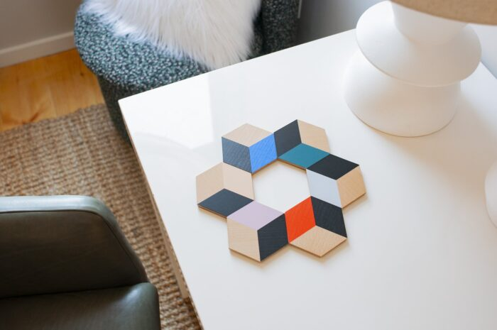 hexagonal table coasters by areaware trivet optical illusion