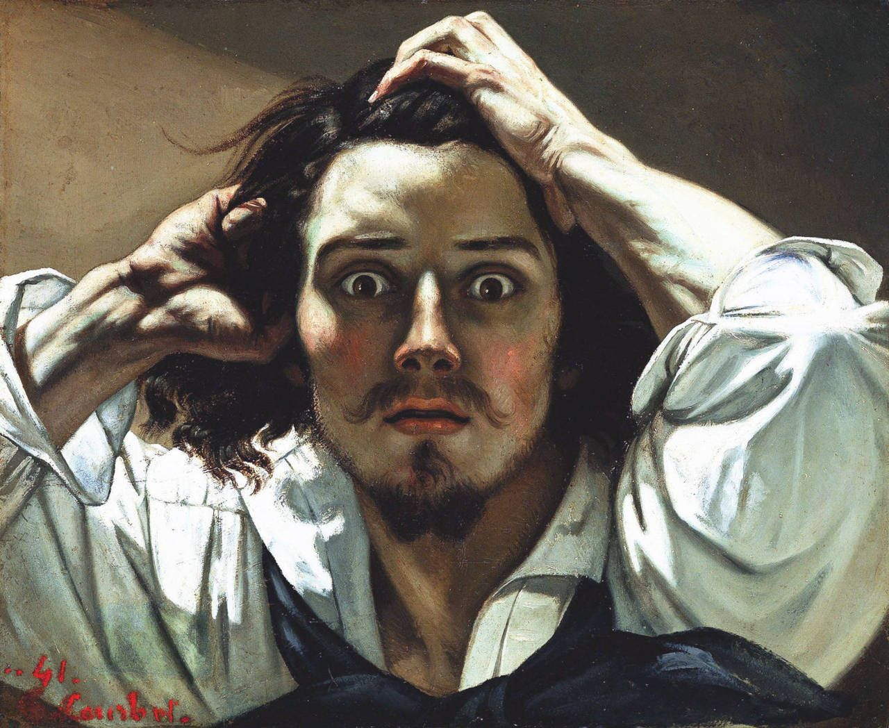 the desperate man by gustave courbet enamel pin brooch pin museum real painting with signature